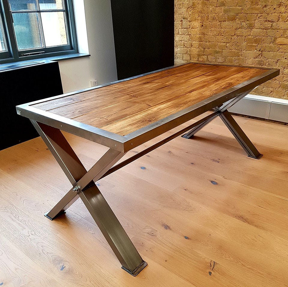 Solid British Steel Based Industrial Table with Solid ...