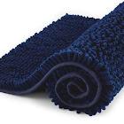 Subrtex Non-Slip Bath Rugs Bathroom Shower Mat Absorbent Luxury Chenille Plush Doormat 16 x 24 Inches,(Long) Dark Blue), Size: 16 inch x 24 inch