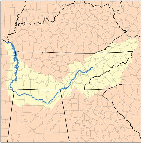 Tennessee River Map watershed