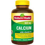 Nature Made Calcium, 600 mg, Tablets - 220 count