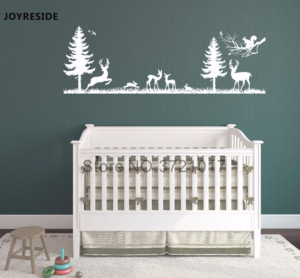 Joyreside Wall Decal Vinyl Sticker Woodland Forest Animal Bambi Antelope Rabbit Boys Kids Bedroom Decoration Mural Design Xy026