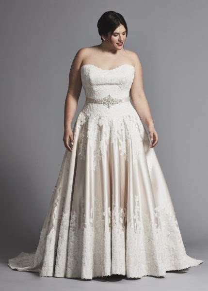 Strapless Lace And Satin A line Wedding Dress   Kleinfeld