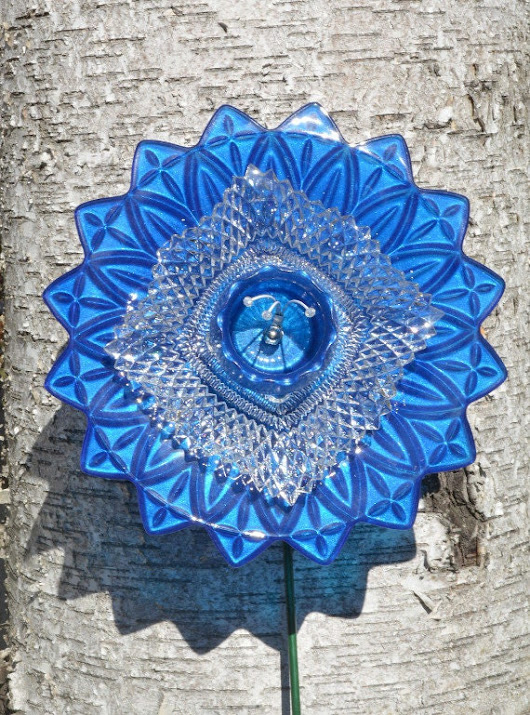 Glass Home Decor Bright Blue Flower Open by NiftyBitsGallery
