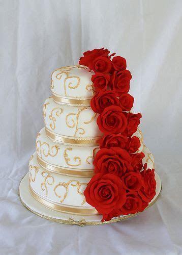 Gold scroll red rose wedding cake   Wedding   Wedding