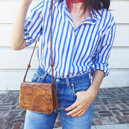 Le Fashion Blog 25 Ways To Wear A Striped Button Down Shirt Python Crossbody Bag Kat Colling Via WhoWhatWear Tucked In