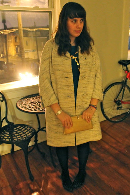 Hanukkah outfit: Gold bow dress by Red Velvet, Asos bow mock thigh-highs, vintage coat and clutch, Modcloth quilted flats