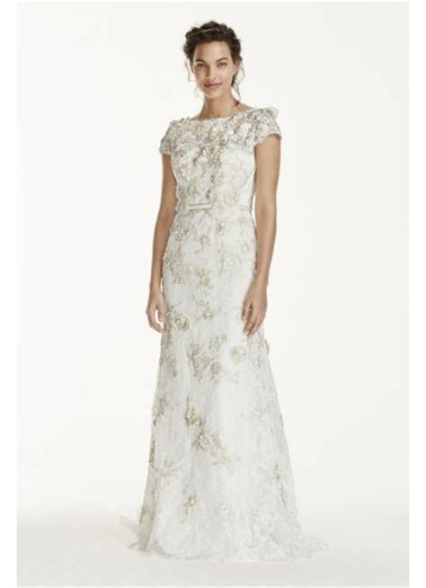 Melissa Sweet 3D Cap Sleeve Wedding Dress   David's Bridal
