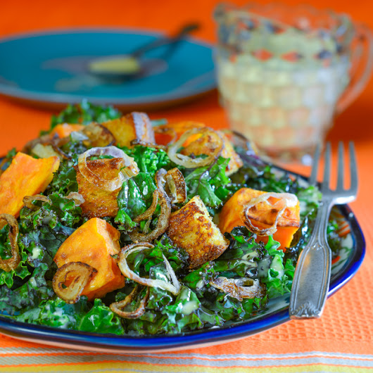 Kale-Sweet Potato Salad with Cornbread Croutons and Crispy Shallots