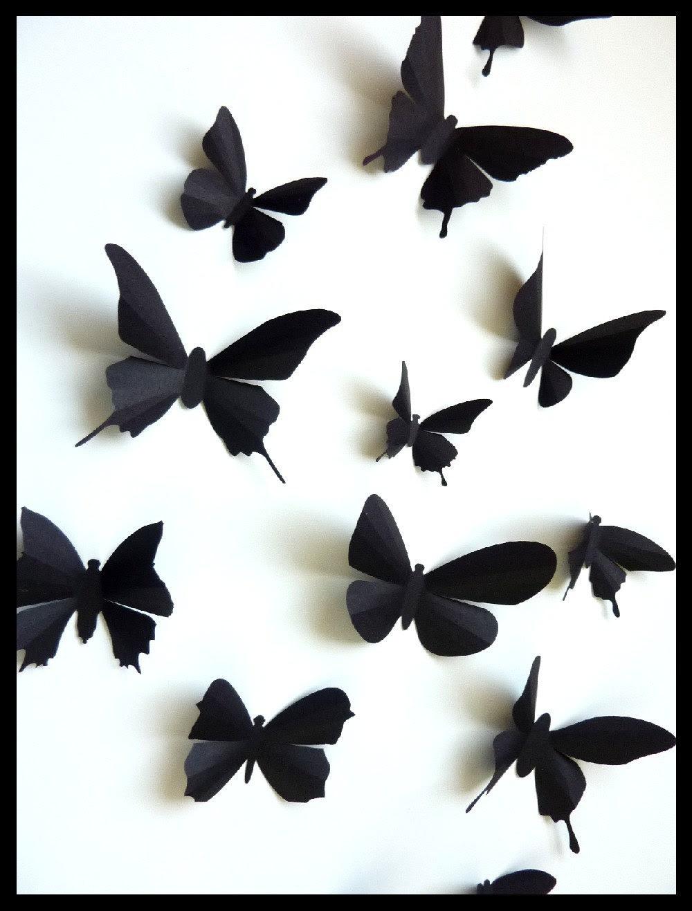 3D Wall Butterflies 30 Assorted Black Butterfly by BugsLoft