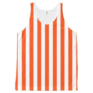 Unisex Tank Top with Orange and White Stripes All-Over Print Tank Top