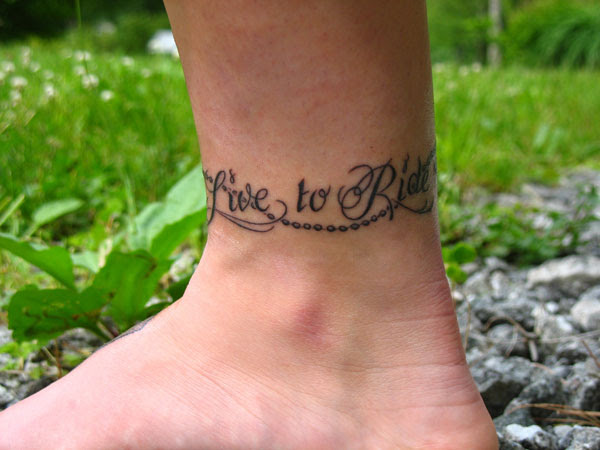 Live To Rode Ankle Tattoo