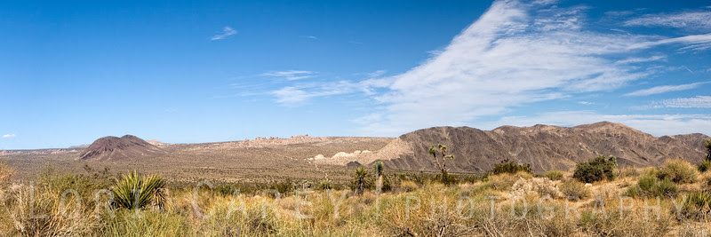 Panarama of Pleasant Valley in Joshua Tree National Park, showing the twin peaks of Malapai Hill and the Hexie Mountains. The Blue Cut Fault runs through here.