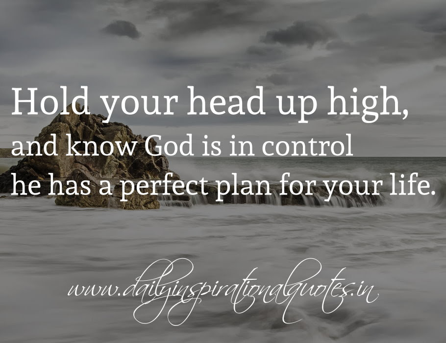 Hold Your Head Up High And Know God Is In Control He Has A Perfect