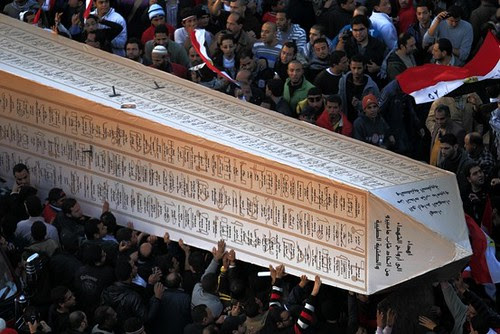 Egyptians commemorating the one-year anniversary of the national uprising of 2011. The gathering took place at Tahrir Square with an obelisk emobdying the martyred. by Pan-African News Wire File Photos