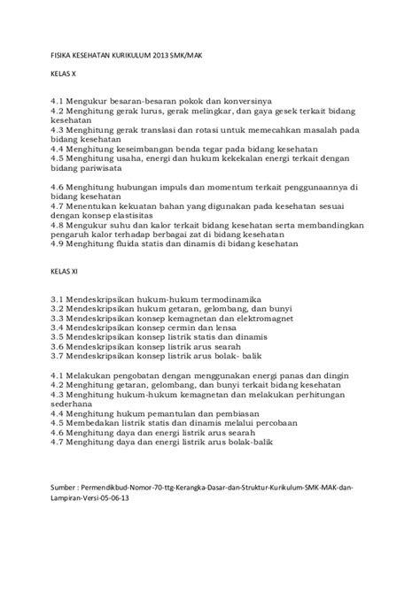 Materi fisika kesehatan kurikulum 2013 smk kelas x dan xi