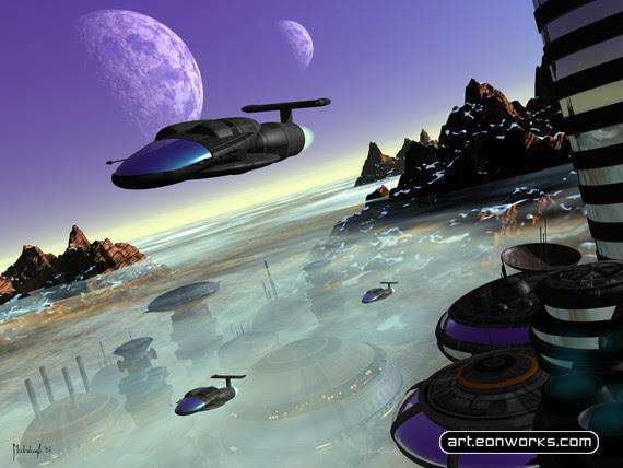 Cidade do Futuro com Carros Voadores