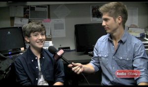 "Greyson Chance being interviewed during ""..."