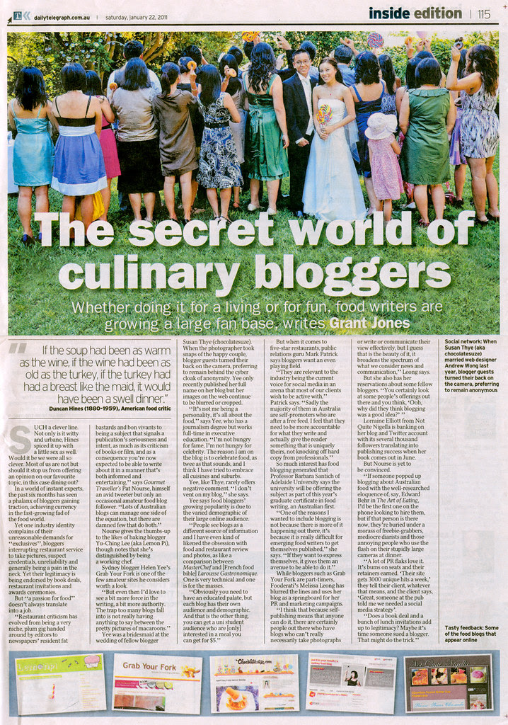 The Secret World of Culinary Bloggers - Grant Jones, Daily Telegraph