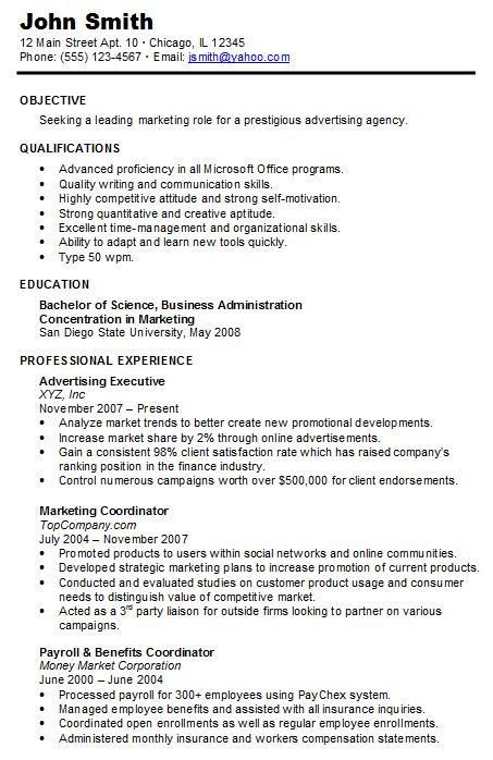 chronological resume