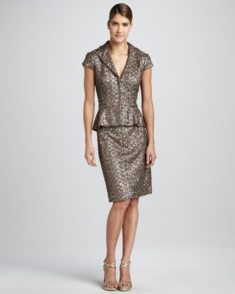 Kay Unger New York Sequined Cap-Sleeve Suit