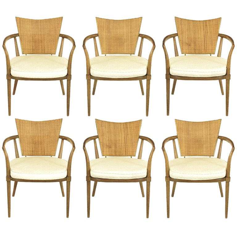 Six Bert England Mahogany, Brass and Cane Arm Chairs at 1stdibs