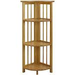 4-Shelf Corner Folding Bookcase-Natural