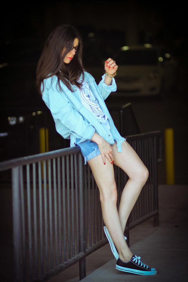 Jet jean shorts, Modekungen denim shirt, Marc Jacobs gold watch, Converse Chuck Taylor, Bonlook eyeglasses, Malibu Native, Fashion Outfit