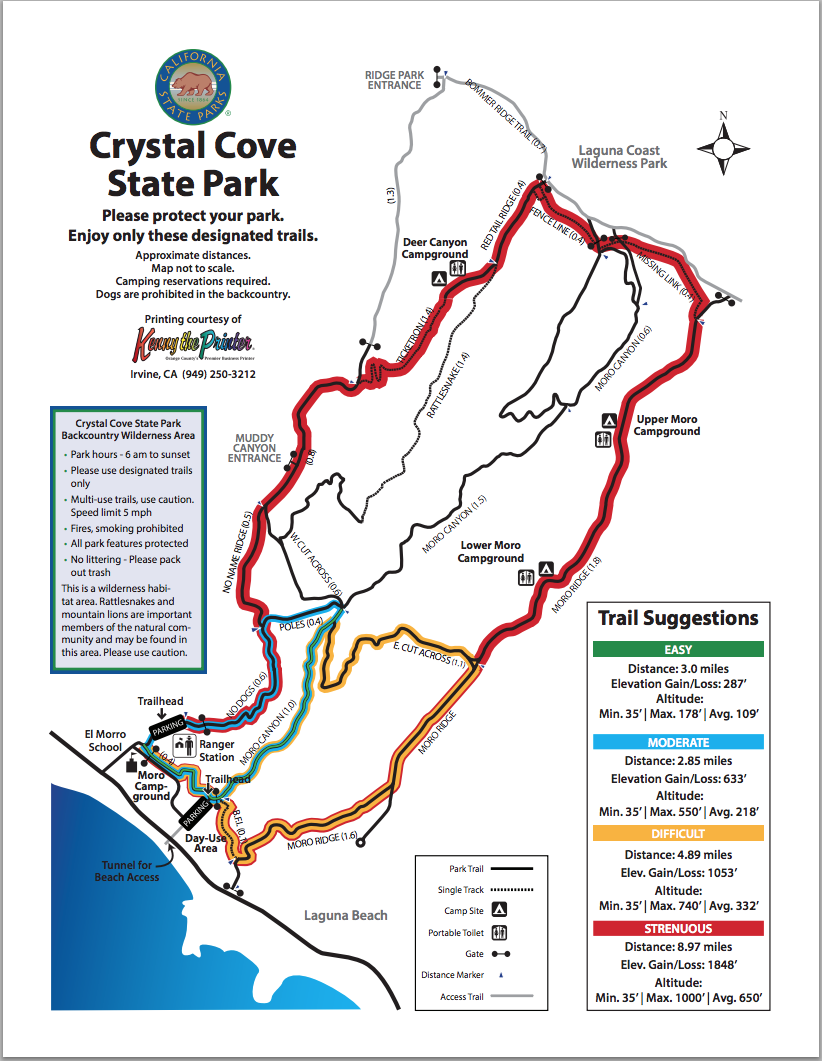 Map Of Hiking Trails Crystal Cove
