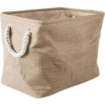 """17.5"""" Taupe Rectangular Polyester Storage Bin with Variegated Design by Christmas Central"""