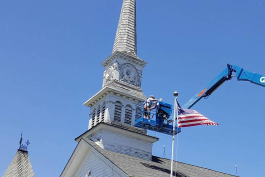 Presbyterian Church Steeple, a Roxbury Landmark, Gets Overdue Attention