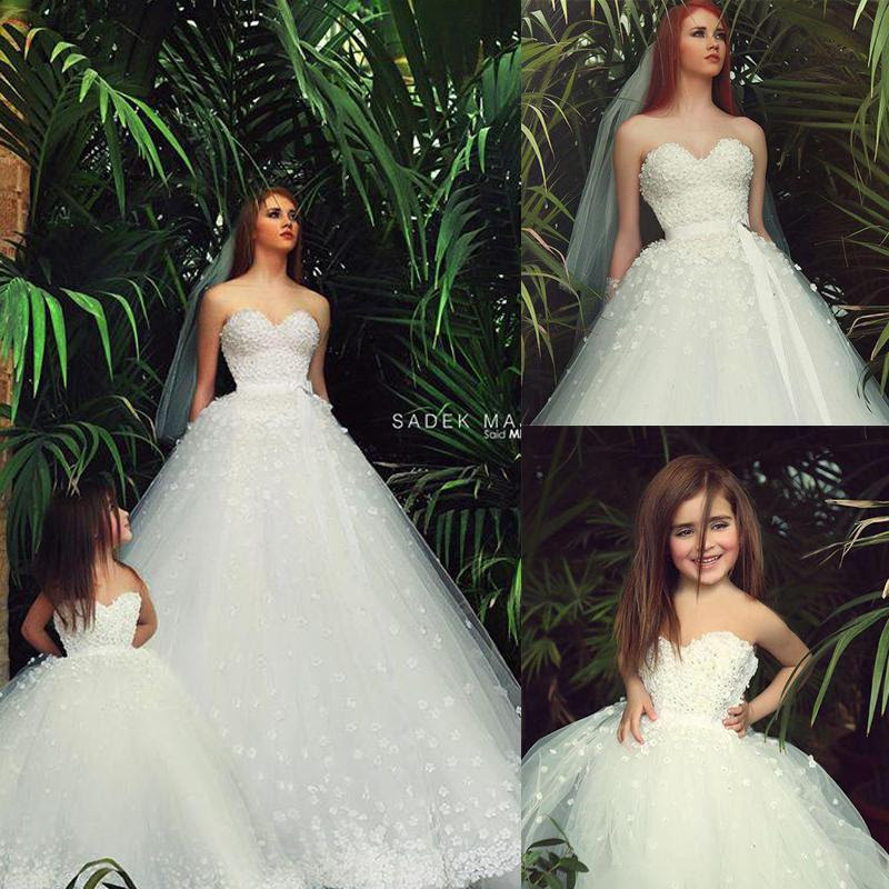 2015 mother daughter matching dresses white sweetheart