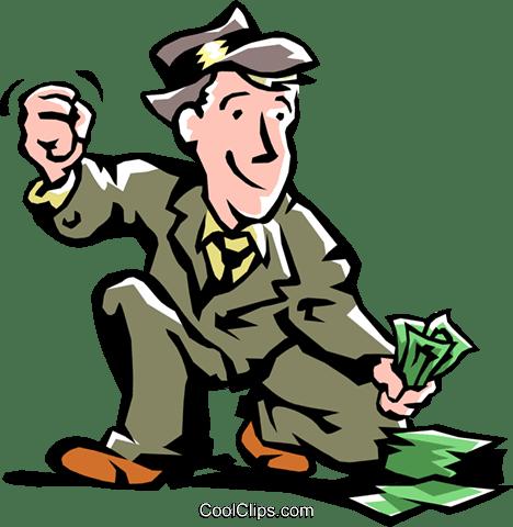 男はお金を拾う ロイヤリティ無料ベクタークリップアートイラスト