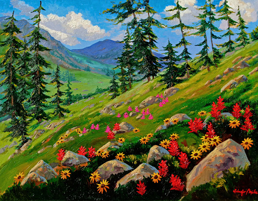 "Hiking. ""Above Booth Falls"" Oil Painting"