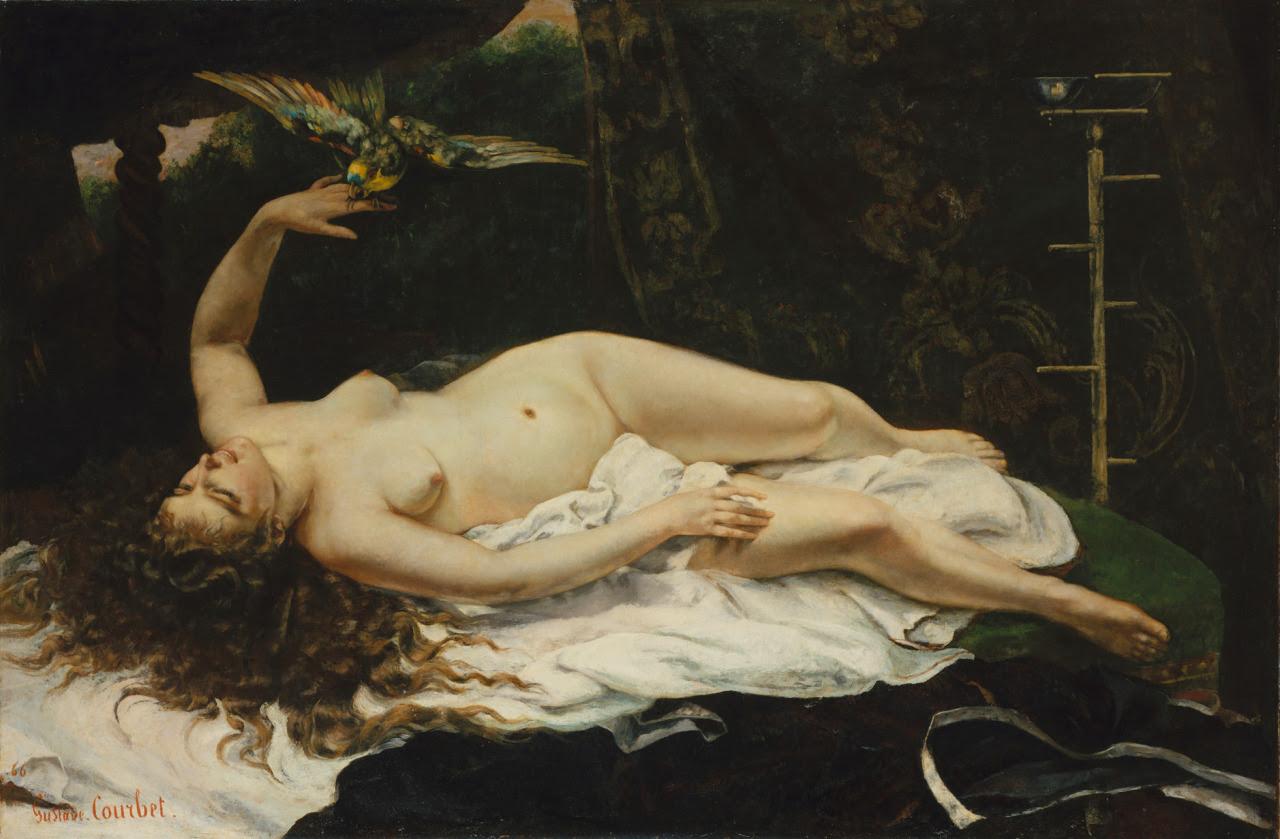 Resultado de imagen de Courbet. Mujer con loro (1866).