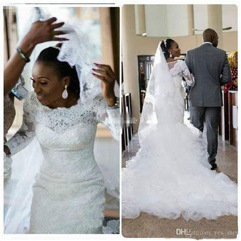 African Nigerian Mermaid Wedding Dresses 2017 Long Sleeves