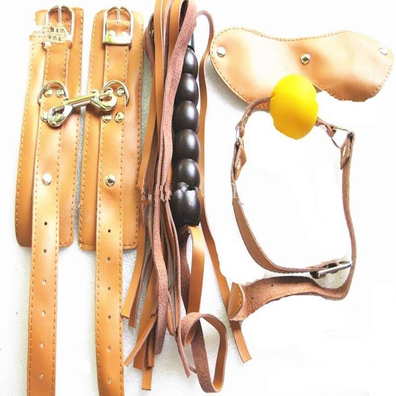 TOP !!  Brown Real Leather 4-in-1 Bondage Kit BDSM Fetish Play Mouth Gag Eye Mask Spanking Whip Wrist Cuffs
