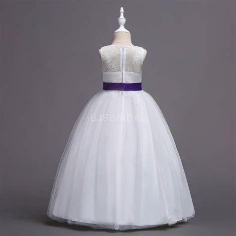 Purple Princess Flower Girl Dress   Lace/Tulle Sleeveless