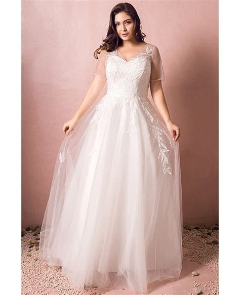 Simple Modest Plus Size Beach Wedding Dress Illusion