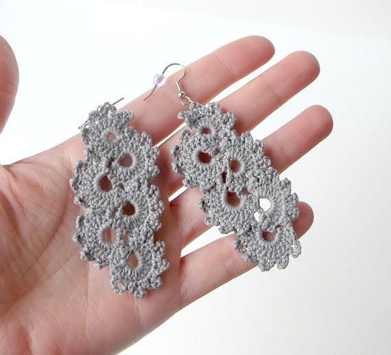 Gray Crocheted Earrings - Crescent Moon