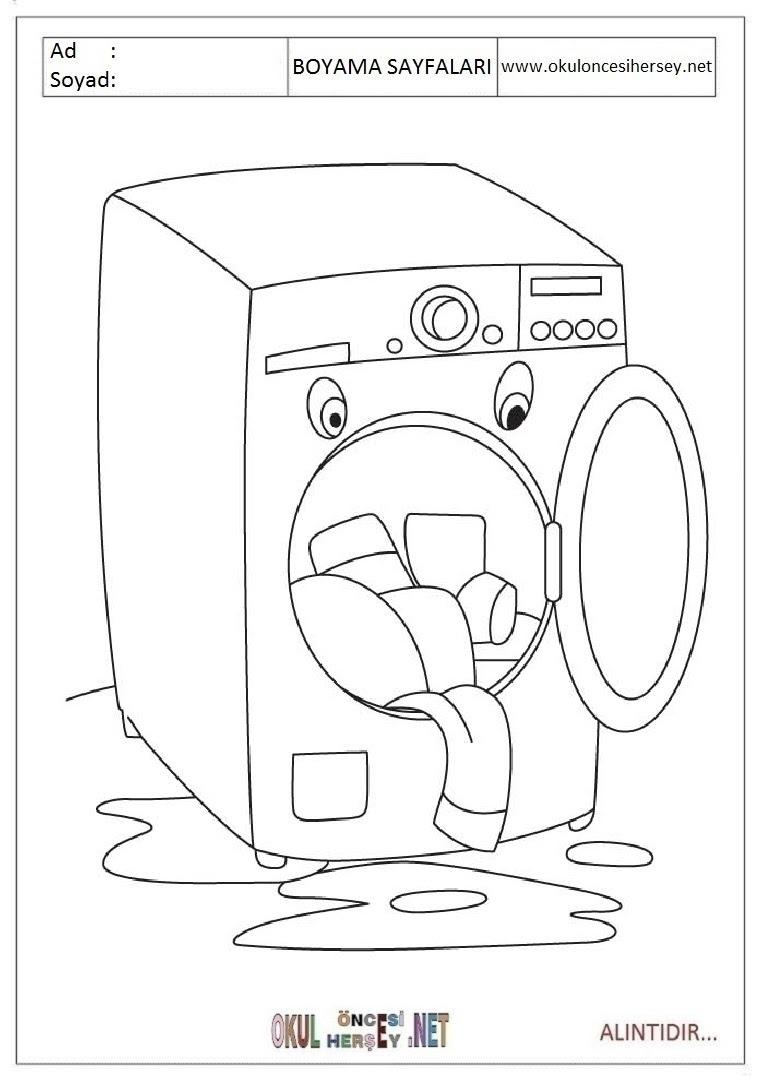 çamaşır Makinesi Boyama Sayfaları