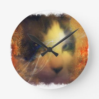 Full of warmth fall kitty colors round wallclocks