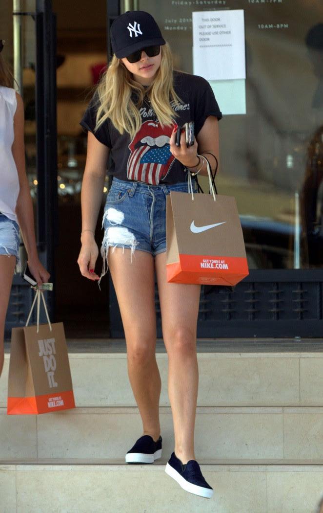 Chloe Moretz in Jeans Shorts -04