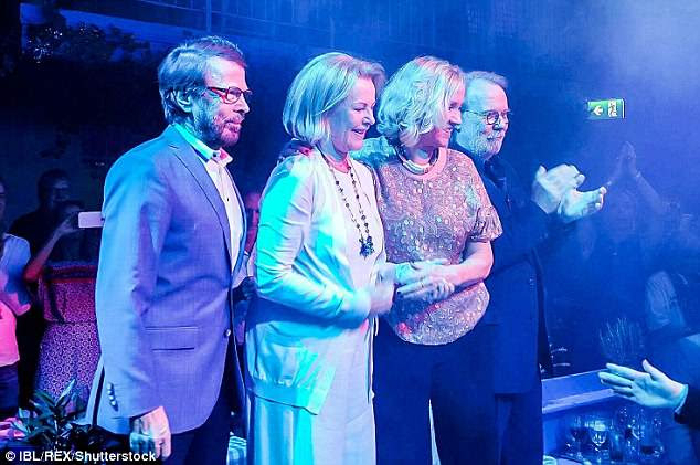 2016 reunion: Bjorn Ulvaeus, Agnetha Faltskog, Benny Andersson and Anni-Frid Lyngstad are pictured on-stage in Sweden