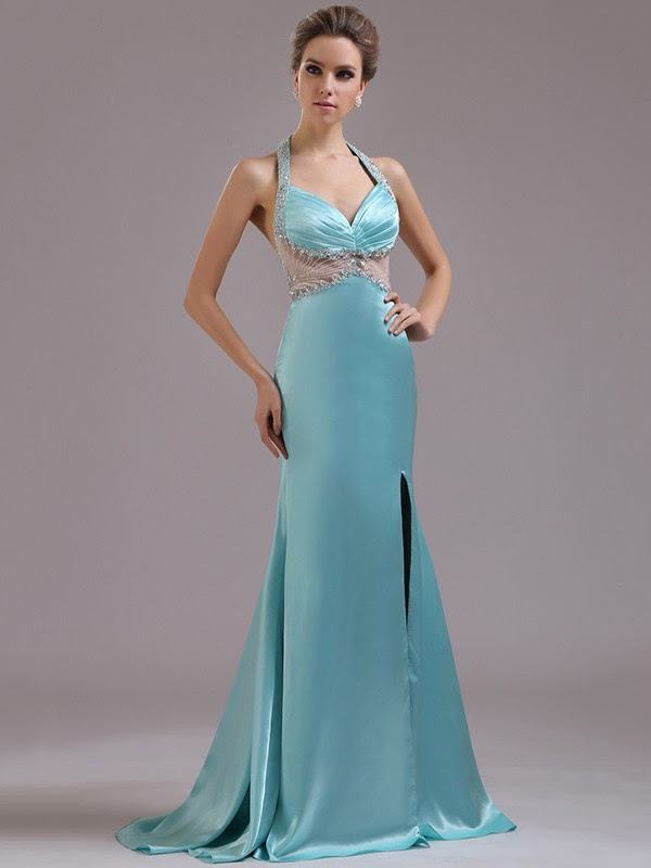 Watteau Train Affordable Silk-like Satin Split Front Open Back Halter Prom Dresses #JCD02014377