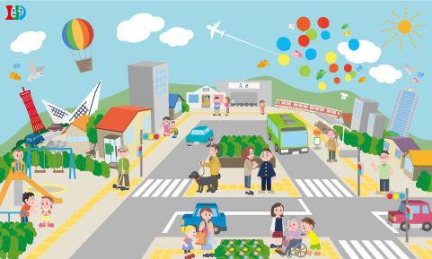 イラストバリアフリーの町並み Kyoko Ooisi