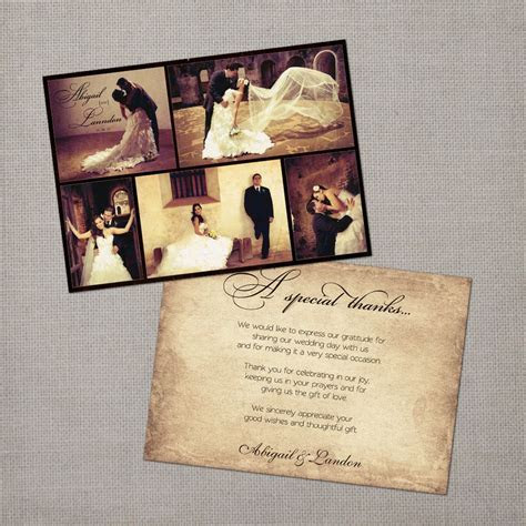 Vintage Wedding Thank You Card the Abigail by