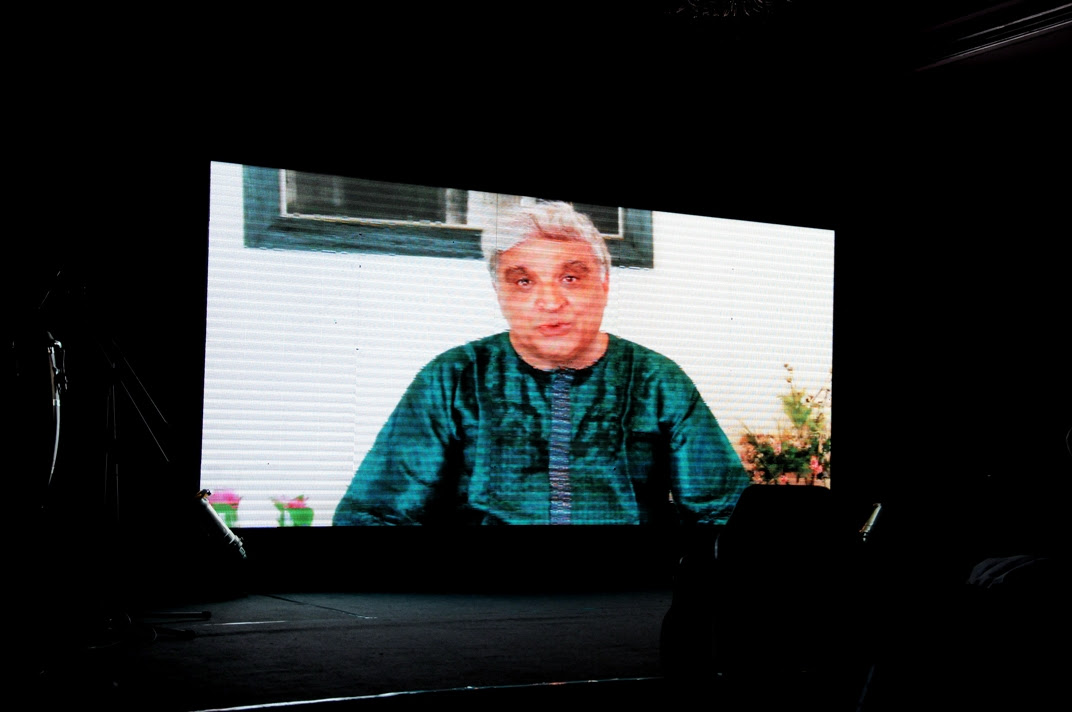 Javed Akhtar makes his presence through a video