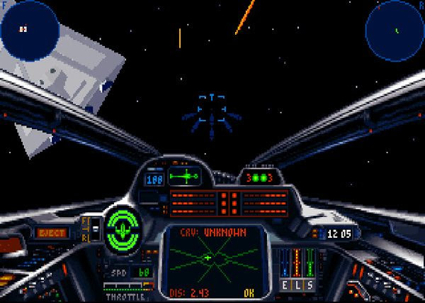 A screenshot I took as I attacked the Star Destroyer Relentless (upper left) during Tour of Duty 5, Mission 18 in the STAR WARS: X-WING video game.