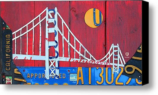 Golden Gate Bridge California Recycled Vintage License Plate Art On Red Distressed Barn Wood Stretched Canvas Print.