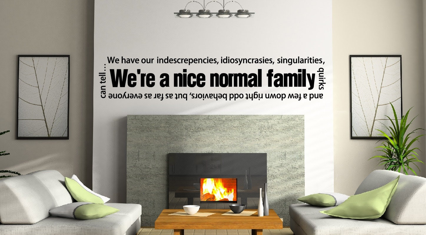 Vinyl Wall Quote Normal Family Wall Decal Home by NewYorkVinyl